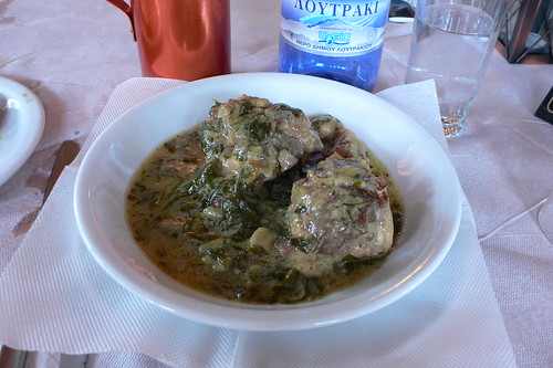 Lamb with spinach and egg sauce