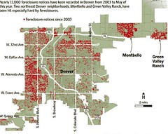 red areas show the most foreclosures in metro Denver (by: Denver Public Trustee's Office & Trulia.com)