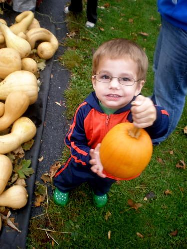 Buster holding a pumpkin