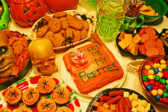 Dread Spread 2008 (boopsie.daisy) Tags: party food orange halloween cookies cake table skull spread spider cupcakes yummy october candy head spiders witch treats pumpkins junkfood apples ghosts snacks appetizers goodies 31st thefunhouse