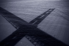 Golden Gate Bridge Shadow (banzainetsurfer) Tags: ocean sanfrancisco california bridge light shadow sea blackandwhite bw sun pacific suspension goldengate bayarea