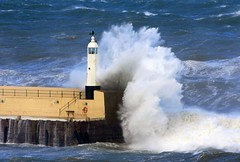 Peel breakwater storm (ronstrathdee) Tags: sea storm waves spray peel isleofman theresastormabrewing wavesbreaking therebeastormabrewin