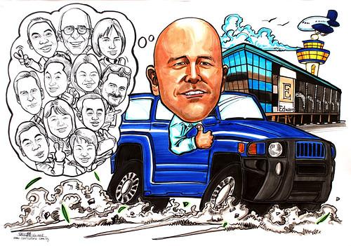 group caricatures for Edwards Lifesciences colour