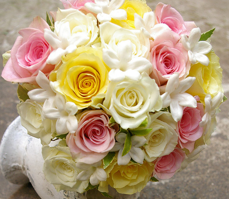 white and yellow rose bouquets. I#39;d love daisies and white