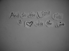 And so the Lion fell in Love with the Lamb (Rachel Ramos.) Tags: eat crayon photography lion fell love with lamb twilight edward cullen isabella swan bella breaking dawn new moon eclipse stephenie meyer robert pattinson kristin stewart stupid masochistic alice jasper emmett rosalie quote vampire bite me fanpire jackson rathbone esme ashley greene paramore decode laurent james victoria werewolves jacob black herion brand dvd march 21 josh farro jeremy davis taylor york muse zac hayley williams forbidden book dream motorcycles nov 20 kristen kendrick hale charlie kellan