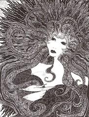 Fire Maiden (C Merry) Tags: blackandwhite sun art fire flora penandink cereus eveningstar onedayonearth illustratedstory lineillustration firemaiden floramaiden heavyweightartist