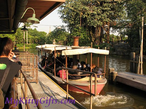Hello Kitty's Jungle Cruise Boat in Adventureland, Hong Kong Disneyland