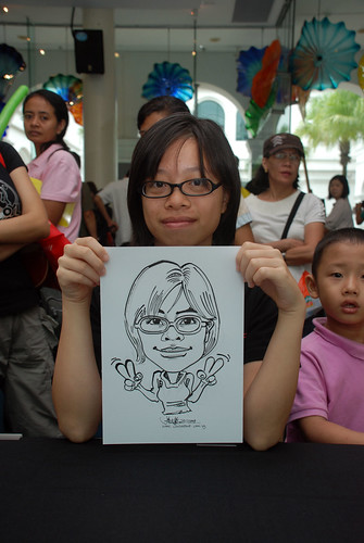 Caricature live sketching at Singapore Art Museum Christmas Open House - 5
