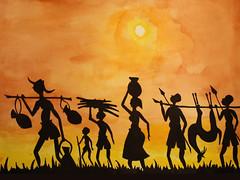 Watercolor (serega:)) Tags: wallpaper orange black silhouette yellow watercolor aquarel