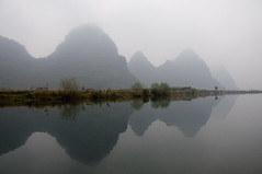 Mountain shade in the water (Jack Beijing) Tags: china trip travel tourism fog river asia guilin yangshuo foggy scene  shade      guangxi       yulongriver beautifulscene