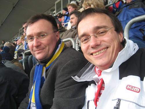 Reyk Seela (Jena) und Michael Panse (Erfurt) auf der Tribüne