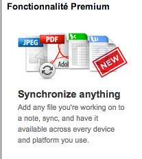 ajouter n'importe quel fichier de travail dans une note, synchronisez, et il est dispo sur toutes les plateformes.