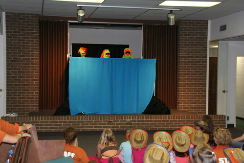 A team from First Baptist Church of Lowell puts on a puppet show for our preschool through second grade children.