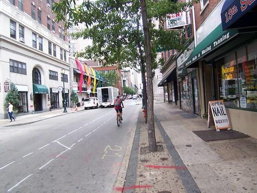Cyclist in Chalked Bike Lane - 13th Street
