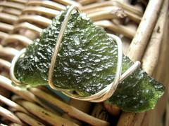 Moldavite wirewrap pendant
