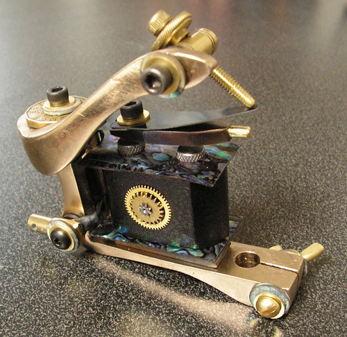 Bronze and Abalone Tattoo Machine by britishink. Hand made, one of a kind,