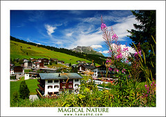 Magical Nature (Hamad Al-meer) Tags: wwwhamadhdcom hamadhdcom hamad hd hamadhd nature magic magical blue green tree flower pink colors color house mountain mountains clouds cloud europe austria canon eos 30d landscape view flickrlovers supershot 5photosaday   almeer     art