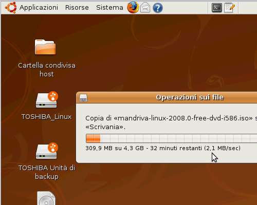 Fig. 9 - VirtualBox - velocita trasferimento file a controller USB 2.0 disabilitato