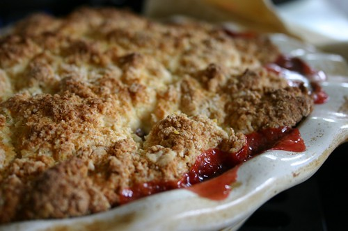 Bubbling rhubarb strawberry cobbler