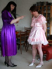 Reprimand (Paula Satijn) Tags: pink shiny dress purple tgirl sissy transvestite satin maid silky frenchmaid ballgown
