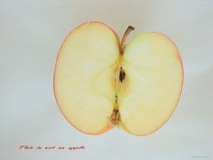 Hommage a Ren Magritte (NYCandre) Tags: love apple yoga fruit freedom pain fuji ipod christ buddha seed shakespeare magritte philosophy thoughts coolpix reality unreal illusions conceptual plato liberation pleasure core aristotle emptyness 990 winesap illusory humancondition conditioning ipad heraclitus braeburn thisisnotanapple cecinestpasunepomme bestillandknow notanapple9097 ijustlikethisappleandthisphoto toomuchofanypleasurebecomespain alittlepainisnecessaryforsomepleasure
