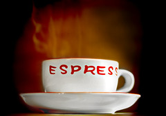 Hot Espresso (fotoJENica) Tags: hot cup coffee brewing cafe nikon drink bokeh beverage steam wakeup goodmorning brew taza vapor saucer afterdinner caliente steaming morningcoffee cafecito tacita cubancoffee cafecubano hotcoffee espumita cafeespresso jennyromney tacitadecafe