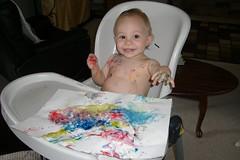 13 Months (jrishel) Tags: toddler highchair cory fingerpaint