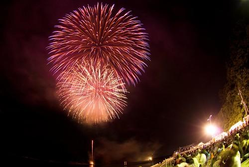 Yunotsu fireworks festival 2008 #2 Fisheye