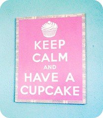 KEEP CALM AND HAVE A CUPCAKE by Everyday is a Holiday (holiday_jenny) Tags: pink original england cute art shopping painting poster wwii ephemera canvas cupcake handpainted carryon keepcalm bakingbook