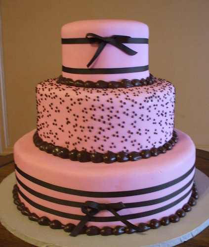 Foto bolo de casamento rosa e marrom
