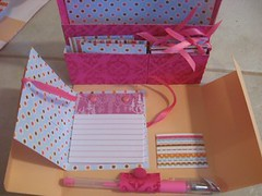 Stationary Box (chelstastic) Tags: christmas pink blue brown diy handmade girly tag peach velvet fuschia card gift bow tinsel ribbon etsy brads stationary sassafras papercraft flocked doodlebug gifttag gelpen writingset