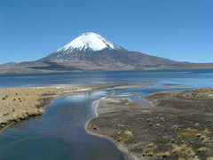 Mountain view (Chris-Bolivia) Tags: chile park blue sky mountain lake snow reflection water birds de landscape volcano stream y peak paisaje paisagem clear national ripples cloudless shrubs altiplano arica chileno volcan vulco chilean regin parinacota putre lauca