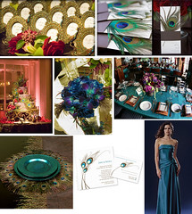 Peacock Wedding (Tastefully Entertaining) Tags: flowers wedding party fall cake purple teal feather peacock bouquet programs favor tablesetting placesetting invitations entertaining placecards bridesmaiddress receptiondecor tastefullyentertaining