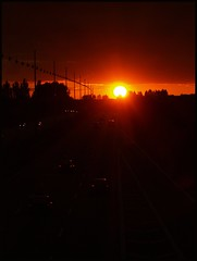 The sunny side of the street (Kirsten M Lentoft) Tags: road sunset sun cars denmark lights highway silhouettes lamps soe brøndby anawesomeshot momse2600 mmmuuahhh goodnightmysweetfriend kirstenmlentoft