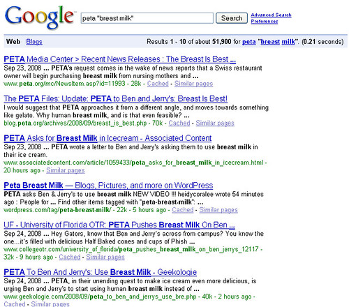 Google Search - PETA + Breast Milk