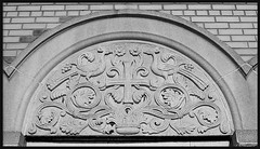 Detail: Arch, Assumption Greek Orthodox Church--Detroit MI (pinehurst19475) Tags: city urban blackandwhite bw art church arch architecturaldetail michigan detroit bestviewedlarge symbols charlevoix greekorthodox greekorthodoxchurch urbanfragment decorativedetail parducci sculpturalrelief corradoparducci assumptiongreekorthodoxchurch charlevoixroad