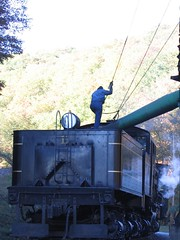 Takin' on Water (The Ghostcop) Tags: county old railroad red mountain west green fall water colors beautiful forest gold virginia big tank scenic large engine logging 11 tourist steam wv fireman huge locomotive cass pocahontas excursion geared