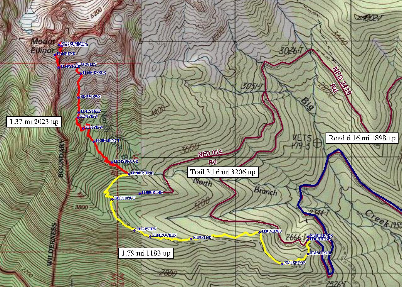 Mt. Ellinor Lower Trail route.