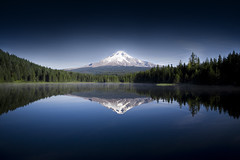 i was there : ) (Justin Charlton) Tags: blue trees sky mountain lake holiday snow reflection tree green art water beautiful rock oregon dark landscape trillium photo rocks flickr mt searchthebest explore hood trilliumlake