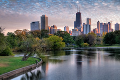 Downtown Chicago at Dusk (WordSquatch) Tags: city autumn chicago fall skyline illinois interestingness pond nikon october downtown johnhancock hdr lincolnpark lightroom d300 photomatix enjoyillinois aplusphoto michaelhansen nikond300 nikonflickraward illinoistravel panoramafotogrfico wwwhansenfotoscom
