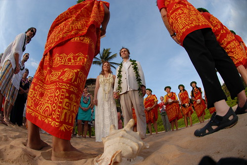 during the ceremony, surrounded by friends, family & conch shell blowers