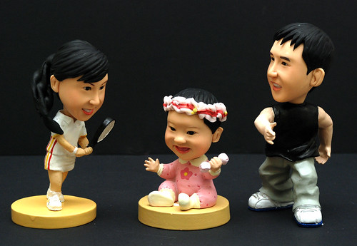 3D caricature figurines - man baby tennis lady 4