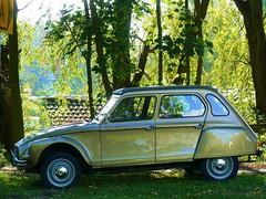 Citroën Dyane 6 (azu250) Tags: 6 green car gold citroen voiture deux 2cv ente eend dyane lelijke 2pk cheveaux deuche ac078