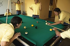 the pool players (orange tuesday) Tags: playing game green pool up sport yellow table concentration stripes nine balls competition spots seven thinking around players barc competing eyeing compete cues sizing cueing