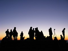 Tourists gather to photograph the sunrise on Mount Nemrut, Turkey