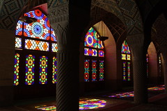Interior, Nasir-ol-Molk Mosque, Shiraz, Iran (Rowan Castle) Tags: travel windows light art architecture persian iran islam tripod persia stainedglass mosque shiraz iranian 2008 islamic nasirolmolk img6086 coolestphotographers winterprayerhall