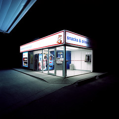 untitled 0205_11 (Levi Wedel) Tags: street city urban 120 film night nocturnal hasselblad storefront portra nocturne invisiblecity swc 903swc