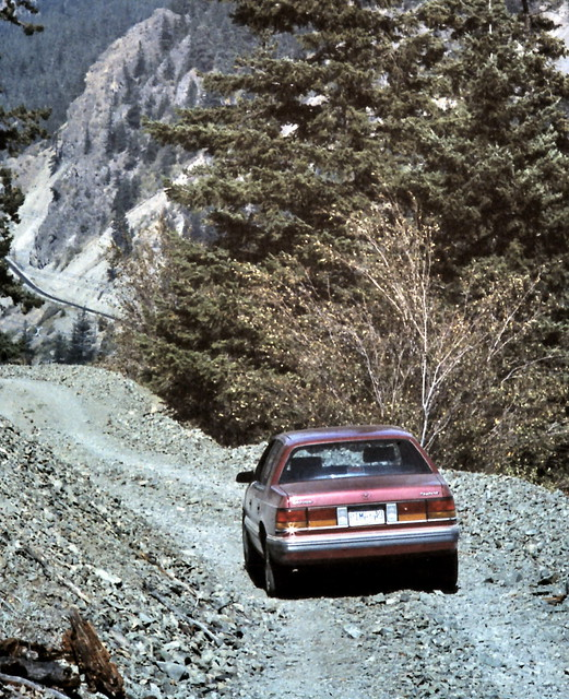 red mountain canada color colour tree car analog river automobile bc spirit britishcolumbia canyon slidefilm best vehicle dodge 1989 chrysler eighties favourite fraserriver chilcotin seattlefilmworks canadagood slidecube