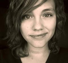 Myself, (explored!) (Mallory Dawn) Tags: smile sepia dark necklace perm