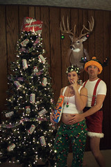 Happy Holidays 2008 (thedayhascome) Tags: christmas tattoo photoshopped humor pregnant deerhead marlboro trailer redneck cheetos suspenders budweiser whitetrash woodpaneling christmascard holidaycard doublewide haircurlers whitetrashchristmas redneckchristmas redneckchristmastree